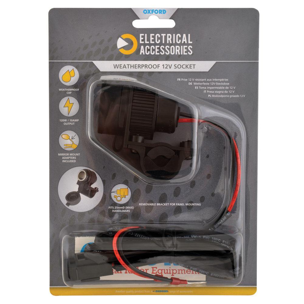OXFORD - 12V STD Accessory Plug Socket and 1.2mtr 10amp fused loom