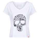 MotoGirl Flower Skull – White T-Shirt