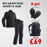 RST Raid Black/Black Jean & Jacket Offer £429.98  (Free Raid Gloves, & Raid Backpack Worth £69.00)