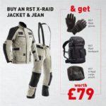 RST X-Raid Dark Grey/Black Jean & Jacket Offer £489.98  (Free Raid Gloves, Cargo Pouch & Raid Backpack Worth £79.00)